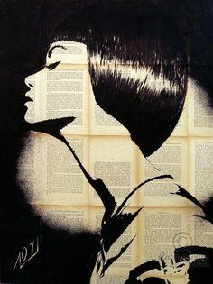 Marianne - Картина,  60x80x2 cm ©2015 - Layla Oz -                                                                                                                                    Иллюстрация, Минимализм, Модернизм, Портретная живопись, Бумага, Холст, Женщины, Мода, Портреты, girl, black and white portraits, fashion, ink, collage, handmade, hand painted, hand drawn, vintage books, drawing on pages of book, ritratto femminile, portrait de femme, feminine portrait