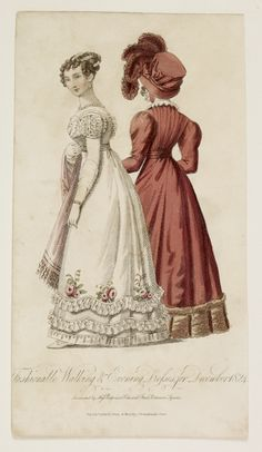 Lady's magazine 1824. The pink gown shows new gigot sleeves and a decorative hem.
