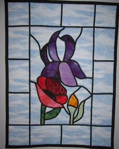 Items similar to Quilted Stained Glass Flowers on Etsy Stained Glass Quilt, Stained Glass Flowers, Stained Glass Projects, Stained Glass Patterns, Quilting Tips, Wood Crafts, Quilt Patterns, Trees, Leaves