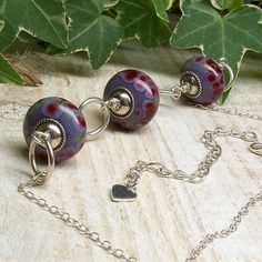 sterling silver and lampwork necklace purple by whirligigjewellery, £26.50