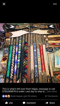 Beaded Belts, Leather Jewelry, Tack, Ideas, Design, Thoughts