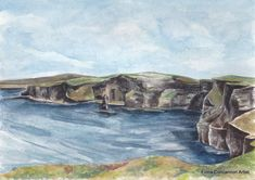 The Cliffs of Moher Cliffs Of Moher, Limited Edition Prints, Watercolour Painting, Giclee Print, Vibrant, Antiques, Drawings, Artist, Sketches