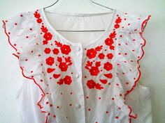 Red White Embroidered Blouse Embroidered by MillionTreasures