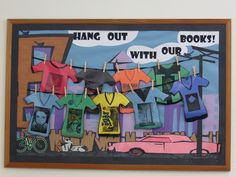 """We're doing this display for the high school library where I'm student teaching (except it'll say """"Hang out with a good book!"""")"""