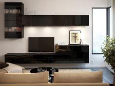BESTÅ tv-meubel in hoogglans zwart en bovenkasten met vitrinedeuren. Nog meer zwevende elementen. Mooi van IKEA.