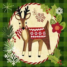Christmas Deer ~ by Jennifer Brinley Woodland Christmas, Christmas Deer, Christmas Animals, Christmas Pictures, Winter Christmas, Vintage Christmas, Christmas Graphics, Christmas Clipart, Christmas Printables