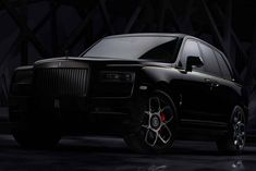 Rolls-Royce added the Cullinan ultra-luxury SUV, powered by producing 600 hp, to their Black Badge series. The Rolls-Royce Black Badge Cullinan… Rolls Royce Logo, Rolls Royce Suv, Rolls Royce Black, Rolls Royce Dawn, Rolls Royce Wraith, Rolls Royce Phantom, Small Luxury Cars, Best Luxury Cars, Luxury Suv