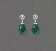 Sketch of the Fabergé Karenina Emerald Earrings. #Fabergé #Karenina #emerald…