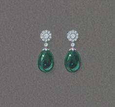 Sketch of the Fabergé Karenina Emerald Earrings. #Fabergé #Karenina #emerald…