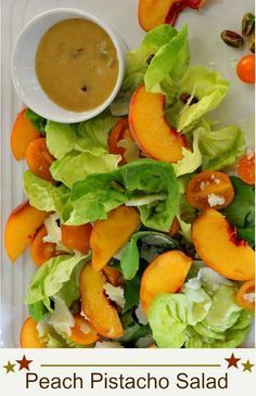 Healthy Salad Recipes A recipe for a fresh Food & Drink Healthy Snacks Nutrition Cocktail Recipes A recipe for a fresh peach salad with pistachios and peach pistachio dressing. Delicious impressive healthy and easy salad recipe using fresh peaches. A beautiful butter lettuce salad for your Summer outdoor grill parties and a perfect side dish for a steak dinner. If you're looking for fresh peach recipes this fruit salad is a popular choice. #fresh #peach #butter #lettuce #salad #healthy via