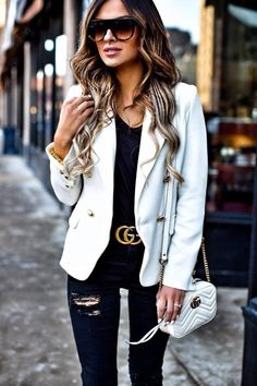 Coveting: Gold Hardware - Gucci 'GG Marmont' Bag // Gucci 'Double G' Buckle Belt // Lioness White Blazer // Topshop Black Jeans // T by Alexander Wang Black Tee // Celine Sunglasses // Zara Fringe Heels January 2017 by maria Donna Fashion, Gucci Fashion Show, Look Fashion, Winter Fashion, Fashion Outfits, Fashion Trends, Fashion Ideas, Gucci Outfits, Fashion Fashion