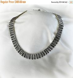 ❘❘❙❙❚❚ ON SALE ❚❚❙❙❘❘     Art Deco Sterling Silver rhinestone necklace with engraving on edges. Outstanding details to the channel set