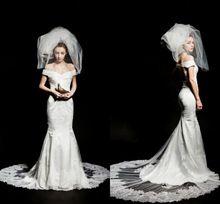 White Fashionable Mermaid Wedding Gown V Neck Cap Sleeve Lace Court Train Wedding Dress Vestido De Noiva Satin Wedding Dresses