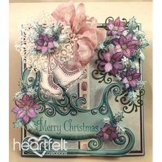 Heartfelt Creations - Purple Poinsettias Cluster And Sleigh Project