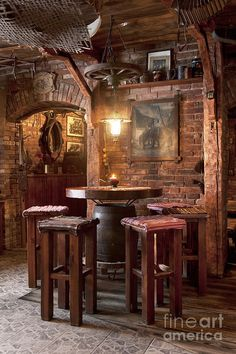 Rustic Old West look for a Man Cave or a wine cellar...