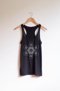 75fa3e977e229 A super soft classic racer back tank top printed with Sacred Geometry  Metatrons Cube print. About the fit    This tank features a fitted