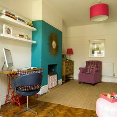 Living room with turquoise chimney breast | How to decorate with colour | PHOTO GALLERY | Style at Home | Housetohome.co.uk