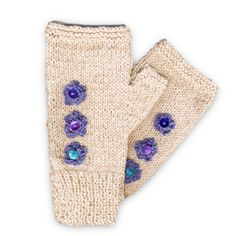 Hand Knitted Fingerless Mittens - Three Blue Flowers, Paradis Terrestre - Quality Greeting Cards, Gifts, Hand Knits, Luxury Christmas Decorations, Luxury British Made Accessories and Homeware