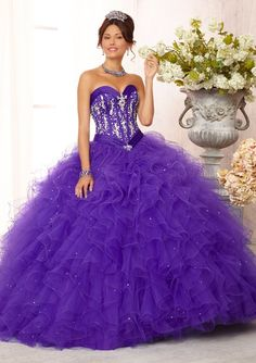 88085 Quinceanera Gowns 88085 Crystal Beaded Satin Bodice on a Ruffled Tulle Ball Gown Skirt