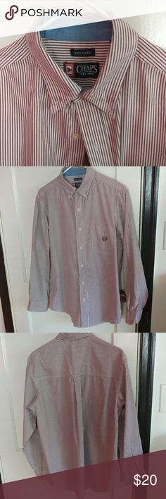 c9473a8f72d09 Chaps Button Down Shirt Burgundy Striped Long Sleeve Button Down Size  Medium In great condition Let
