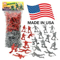 Amazon.com: TimMee Plastic Army Men 'Gray vs. Red': 100 Piece Set of 2 inch Toy Soldier Figures - Made in the USA !: Toys & Games