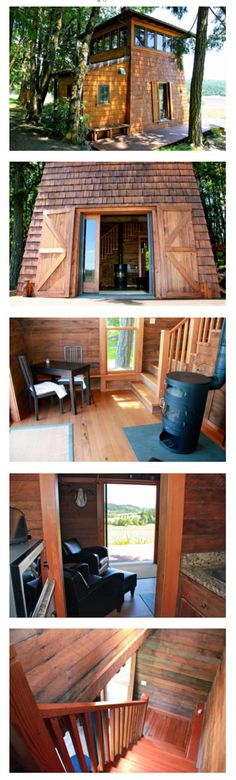 The tiny and fabulously woody (and woodsy) Beacon Cabin on a 40 acre vineyard in Gaston, Oregon. | Tiny Homes