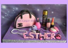 Decoración de Torta Cumpleaños 90 Cartera y Cosméticos