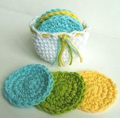 Crochet Scrubbies with Crochet Basket  Set of 7   by NicoleMichael, $6.00