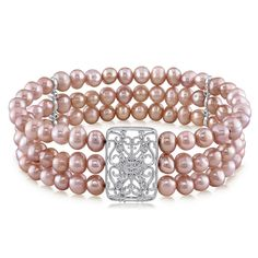 MIMI&MAX Rose Gold Flashed Silver FW Cultured Pearl and Cubic Zirconia Bracelet - 11 Main
