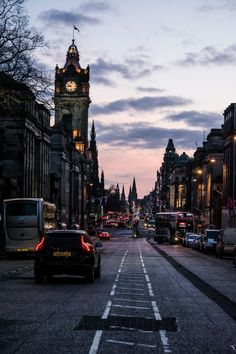 "jjfdphotography: "" Princes Street at Sunset, Edinburgh, Scotland © Jacob Forsyth-Davies "" Edinburgh Photography, City Photography, Landscape Photography, Scotland Vacation, Scotland Travel, Ireland Vacation, Ireland Travel, City Aesthetic, Travel Aesthetic"