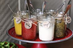 I like this idea for serving condiments at a BBQ