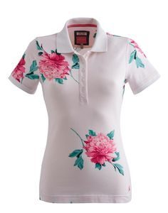 Bright White Peony Dunsdenprint Womens Printed Slim Fit Polo | Joules UK