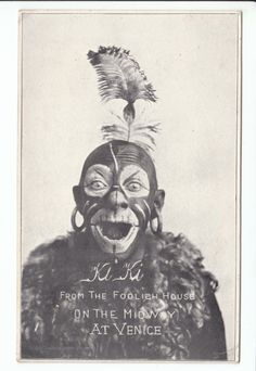 """Ki Ki """"The Man Monkey"""" sideshow attraction from """"The Foolish House"""" at the midway on Venice c. 1904."""