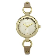 Oasis - Ladies Skinny Leather Strap Gold Bezel Watch - B1097 - RRP: £35.00 - Online Price: £29.75