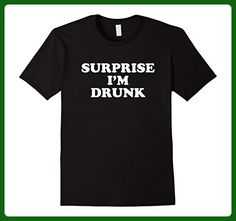 Mens Funny Surprise I'm Drunk Shirt Drinking Beer Alcohol Large Black - Food and drink shirts (*Amazon Partner-Link)