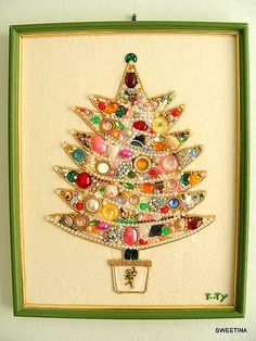 Fun Vintage Bling Tree on Felt | NFS | Tina | Flickr