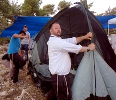 Setting up a tent Givat Oz Ve'Gaon Heritage House