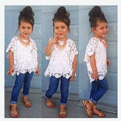 Toddler and Little Girls 3-Piece Lace and Denim Set