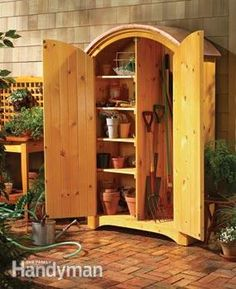Build a handsome outdoor cabinet. This would look nice and function well too!