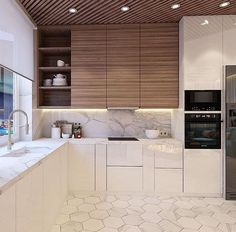 Modern Kitchen Interior find the best protester kitchen design ideas Kitchen Wall Tiles, Modern Kitchen Cabinets, Kitchen Cabinet Design, Modern Kitchen Design, Kitchen Flooring, Interior Design Kitchen, Kitchen Decor, Cabinet Decor, Kitchen Backsplash