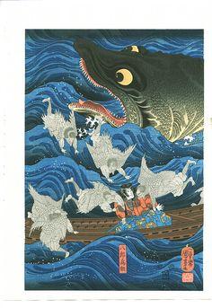 Tametomo rescued by Tengu sent by Sanuki-in (part of triptych), 1850 by Utagawa Kuniyoshi