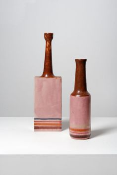 Bruno Gambone; Glazed Ceramic Vases, 1981.