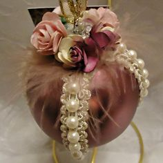 Victorian Christmas Ornament with Pearls by DashofDivaOrnaments, $15.00 (sold; idea only)