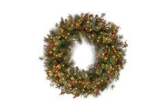 National Tree 48 Wintry Pine Wreath with Cones Red Berries Snowflakes and 200 Clear Lights WP130048W >>> You can find more details by visiting the image link.