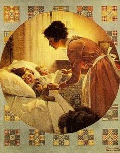 Mother's Little Angel - Mother Tucking Child Into Bed, Norman Rockwell