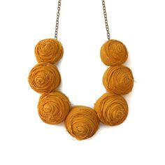 Rosette Necklace Mustard yellow, jewelry, necklaces