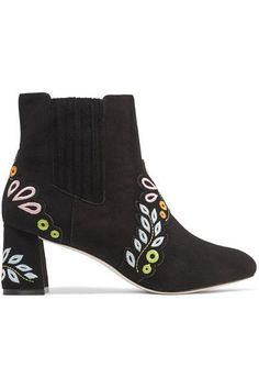 Sophia Webster - Liliana Embroidered Suede Ankle Boots - Black - IT