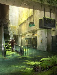 "Abandoned Station - Photobash by sandara | Digital Art / Photomanipulation / Landscapes & Scenery | Post-Apocalyptic abandoned | Author's note: ""I guess this is called a photobash nowadays?   A paint over on a photo I took at a train station. It's got a very Last of Us vibe to it. :)  For folks in SG, this is One-North MRT station :D  Here's the base photo I used : http://sta.sh/01duovhthl89 """