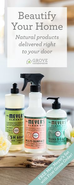 Natural products for a happy, healthy home. Get a free Mrs. Meyer's set with your first purchase!