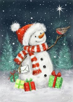 Christmas Scenes, Christmas Books, Winter Christmas, Christmas Crafts, Xmas, Snowman Images, Snowmen Pictures, Handmade Christmas, Vintage Christmas